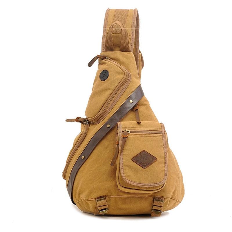 Mens Canvas Sling Chest Bag Cotton Trim Sling Shoulder Bag Cross Body Bag School Messenger Shoulder Rucksack Bookbag<br><br>Aliexpress