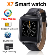X7 Bluetooth Smart Watch Play video GPS Dial Synchronous push Leather strap Mobile Phone Smartwatch Phonebook High Speed CPU A1(China)