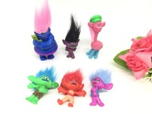 6pcs/set Trolls Movie Dreamworks Figure Collectible Dolls Poppy Branch Trolls Action Figures Toys for Children mini trolls
