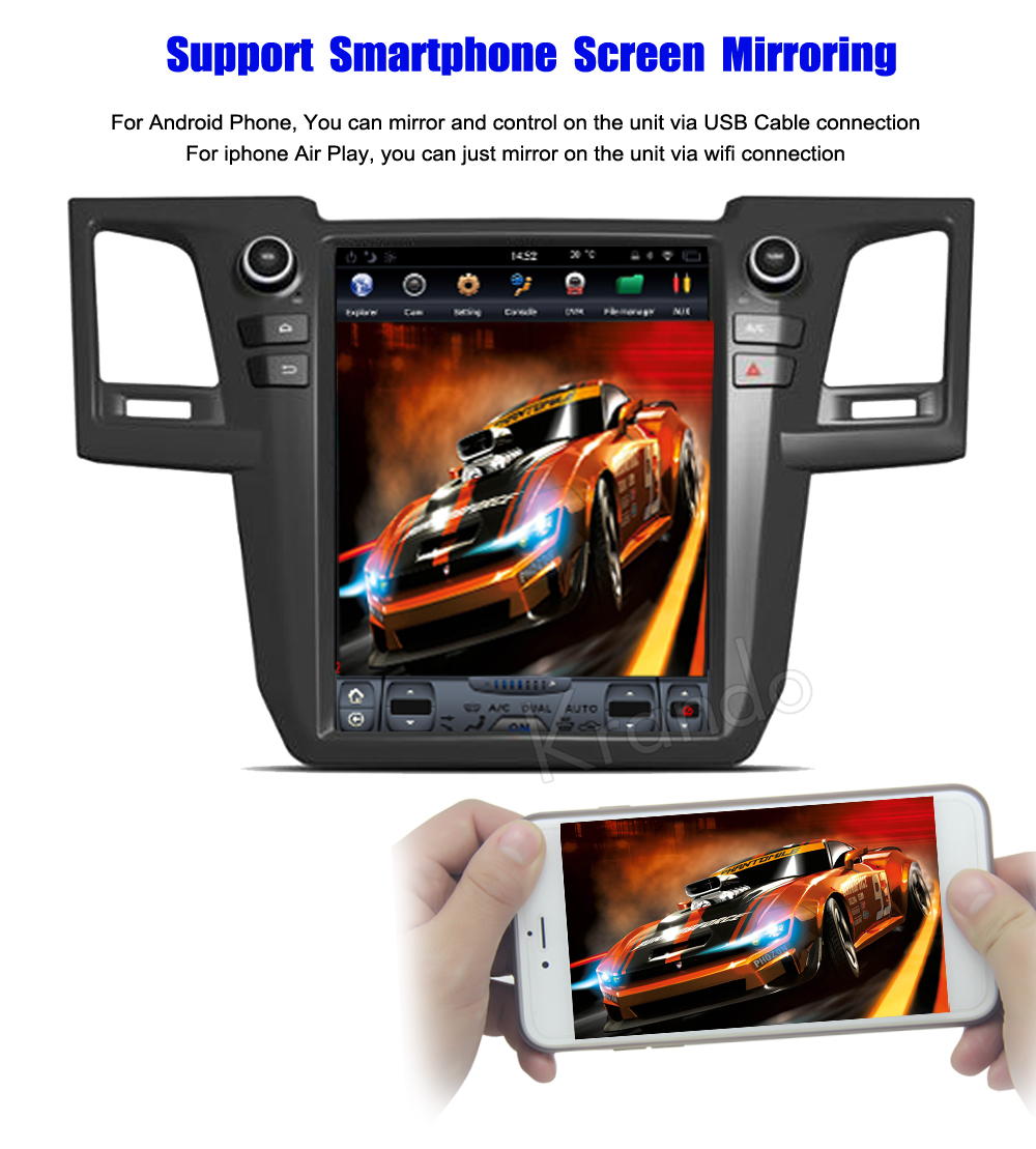Krando Vertical screen android car radio multimedia For For )Toyota fortuner Revo 2012-2015 Big screen navigation with gps system
