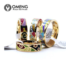 OMENG Cloison Enamel rings 18k Gold Plated Vintage Jewelry for Women Stainless Steel Ring Wedding Bands Bijoux Femme GiftsOJZ036