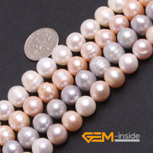 Pearl: 9-10mm Genuine Cultured Pearl Beads DIY Loose Beads For Bracelet Or Necklace Making Strand 15 Inches Wholesale !(China)