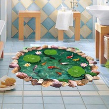 DIY 3D Lotus Fish Water Pool the Floor Stickers Home Decoration Accessories Stickers PVC Pastoral Mural 60X90 cm