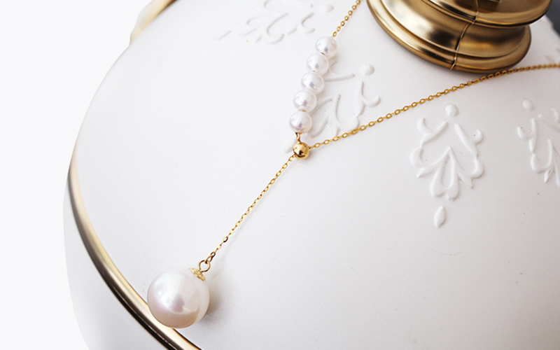 Sinya New Trendy Multifunctional Pendant 18k Au750 gold necklace for women girls lover Y style with Natural high luster pearls (18)
