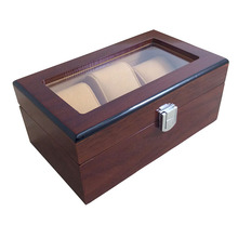 3 Grid Elegant Durable Dark Red Wooden Watch Display Box Watches Case Windowed Jewelry Storage Holder Organizer Free Shipping(China)