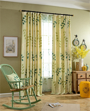 Classic Korean style printed window curtains built in home cafe shop 2016 new leaves design curtain fabric free shipping
