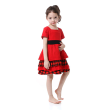 2017 New Christmas Wholesale Party Princess Toddler girls Summer Boutique Dresses Red Girls Summer Dress Fall Baby Birthday Gift