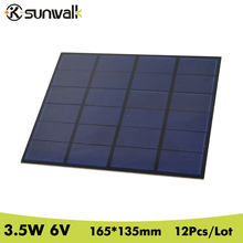 SUNWALK 6V 3.5W 12pcs DIY Polycrystalline Solar Cell Panel PET Encapsulated Mini Solar Cell for DIY Solar Project and Experiment(China)