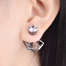 Hot 1 Pair Hollow Double Sided Golden/Silvery/Black Luxury Zircon Stud Earrings Fashion Jewelry(China)