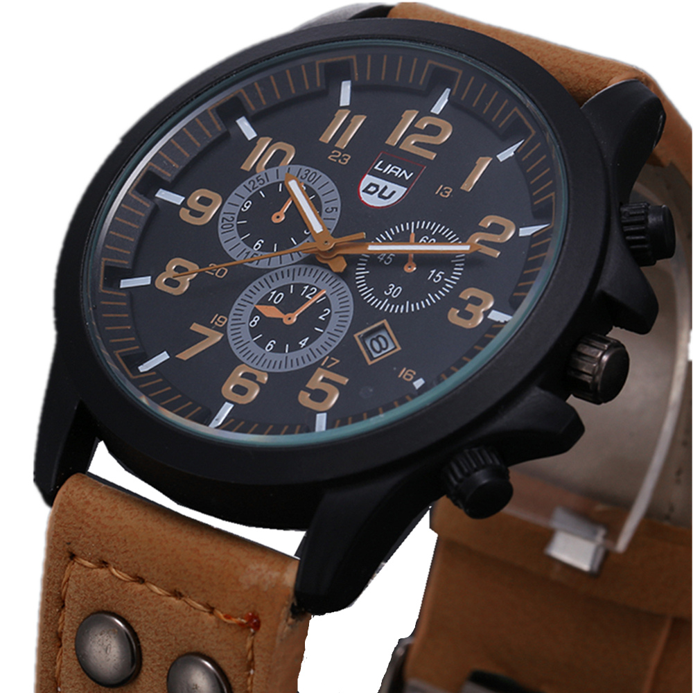 2016 New Business Quartz watch Men sport Military Watches Men Corium Leather Strap army wristwatch clock hours Complete Calendar<br><br>Aliexpress