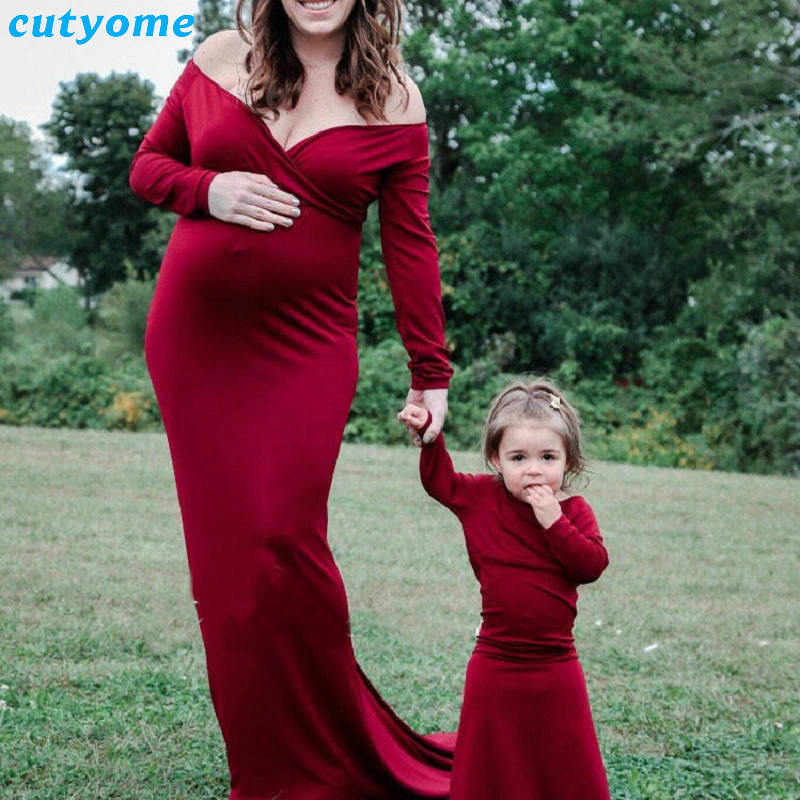 Maternity Dresses For Photo Shoot Long Sleeve Maix Pregnancy Photography Props Dress Clothes Women Pregnancy Nursing Gown Dress<br>