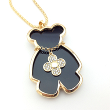 Girls Trinkets Mis Naszyjnik Diamante Gold Clover I Bears Teddy Bear Sweater Pendant Necklaces Chain Women Jewelry(China)