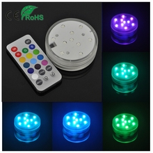 4W colorful new year decoration Tea Lights RGB Remote Control pool Submersible LED Candle lamp for wedding Birthday Party christ(China)