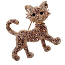 Fashion Carve Full Brown Rhinestone Crystal Tiger Brooch Bridal Gift