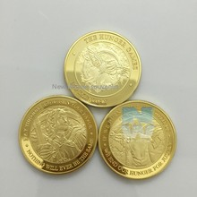 100 pcs/Lot The Hunger Games American Movie Clad Gold America US Challenge Round Coins
