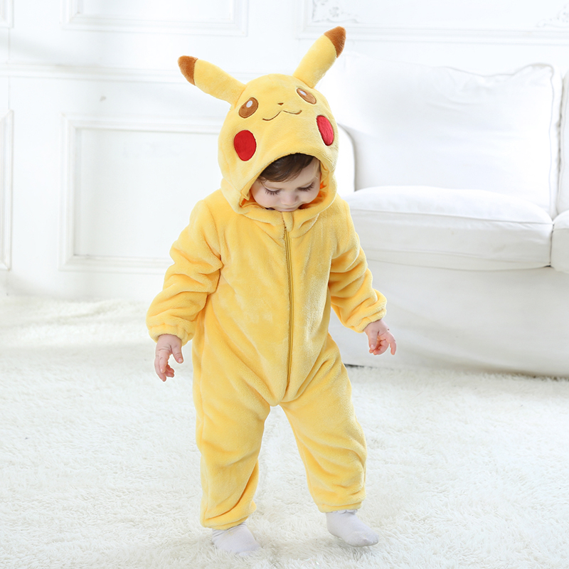 Baby Romper Long Sleeves 100% Flannel Baby Pajamas Cartoon Pikachu Printed Newborn Baby Girls Boys Lovely Clothes