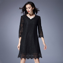 Plus Size Lace Hollow Black Dress For Women Fashion V-neck Three Quarter Loose Show Slim One Piece Dresses Female(China)