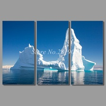 Beautiful Art blue sea 3pcs living room Decoration arctic iceberg landscape Canvas Painting wall art picture home decor unframed