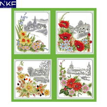 NKF Four Season Flower Counted Cross Stitch Embroidery Sets 11CT 14CT DIY Kits Needlework Cartoon Cross Stitch Pattern for Kids(China)