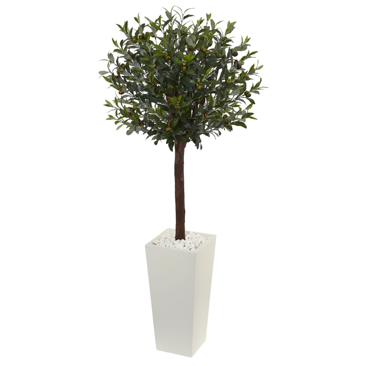 Nearly Natural 5\' Olive Topiary Artificial Tree in White Tower Planter