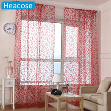 Fashion design hooks flower tulle curtains classical Cut flower voile cortina window living room balcony bedroom sheer curtain