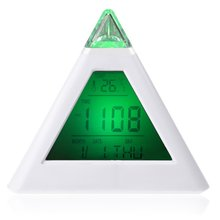 Home Pyramid LCD Digital Snooze Alarm Clock Time Data Week Temperature Thermometer C/f Hour Gradient Colors Simple Style