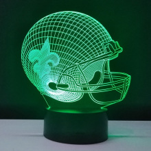 3D Stereo Visual Sport Cap Helmet New Orleans Saints Team Logo Night Multicolored Table Light Creative Gadget Lamp Football Fans(China)