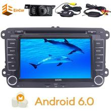 Wireless camera + GPS Navigation for Car Stereo Double Din Bluetooth FM AM radio USB SD music 7'' Android 6.0 Sat Nav for VW