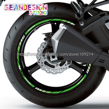 For Kawasaki ZX-6R ZX-9R ZX-10R ZX-12R 636 ZX-R Motorcycle Wheel Sticker Decal Reflective Rim Bike Suitable(China)