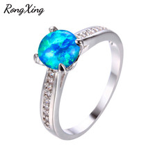 RongXing Simple Fashion Blue Fire Round Opal Rings For Women 925 Sterling Silver Filled Wedding Rings Engagement Jewelry RP0201(China)