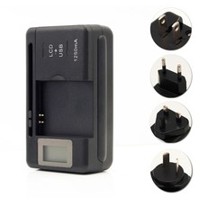 EU/US/UK/AU PLUG New Mobile Universal Battery Charger For Cell Phones USB-Port Black LCD Indicator Screen + Tracking