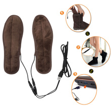 USB Electric Rechargeable Heated Insoles Plush Fur Winter Warmer Insoles Foot Shoes Boots Insole Sport Carbon Fiber Shoe Pad(China)