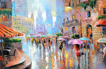 Artist Design Fresh Colors Impression Streetscape Oil Painting on Canvas Hand-painted Colorful Modern London Street Oil Painting(China)