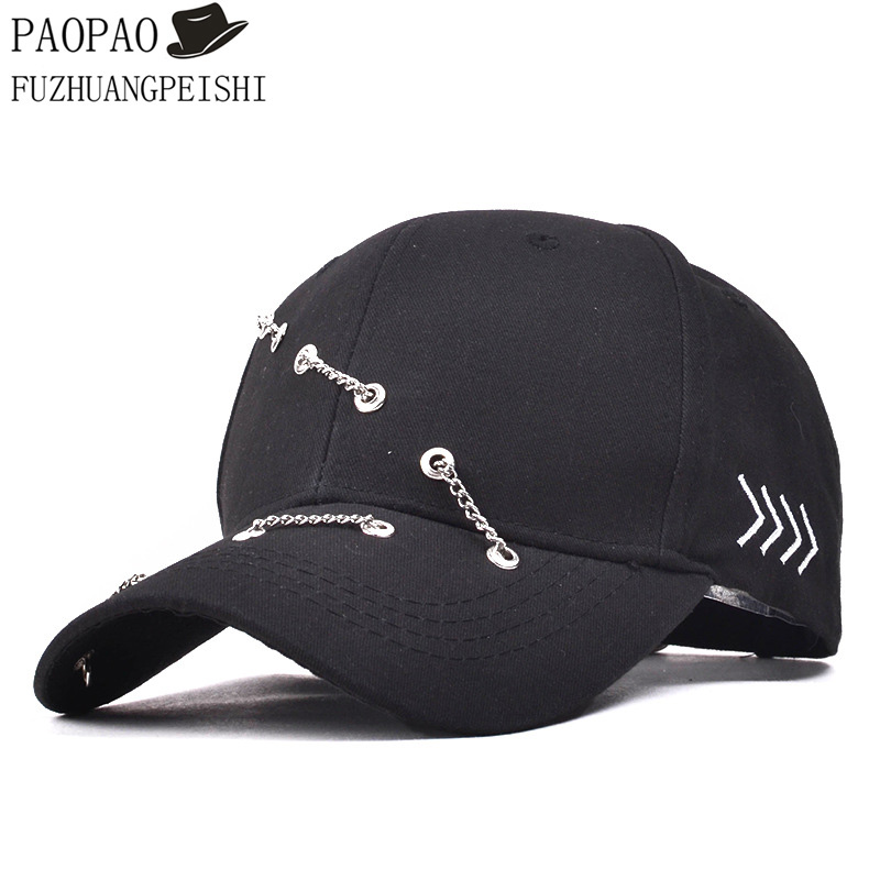 2017 New Fashion Snapbacks Metal Chain Ring Personalized Cotton Baseball Caps For Men Women Hip Hop Cap<br><br>Aliexpress