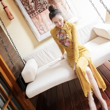 Old fashion vintage style fashion women evening party embroidery dresses(China)