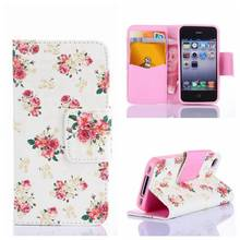 Plum Blossom Peony Rose Flower Design PU Leather Wallet Phone Case for iPhone 5 5s iPhone SE Phone Bag W/ Credit Card Holder