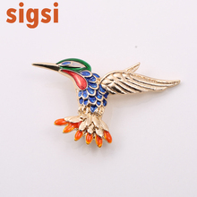 100pcs/Gold Tone Fashion Animal Orange Blue Green Red Enamel Cute Hummingbird Brooches for Fashion Women Lady Pin Brooch
