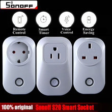 Sonoff S20 Wifi Wireless Remote Control Socket Smart Home Power Socket EU US UK Standard Via App Phone Smart Timer Home Plug(China)