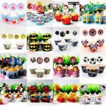 Mickey Kids Favors Pokemon Decoration Minnie Cupcake Wrappers Birthday Party Baby Shower Princess Cake Toppers Supplies 24pc\lot