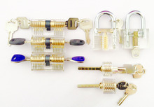 Free shipping!Locksmith Lockpick Tool Set 7 Different Transparent Cutaway Crystal locks For Practicing Training Skill