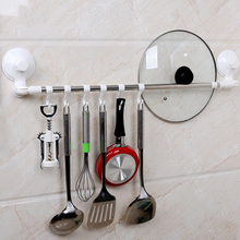 Suction Cup Towel Bar with Hooks Stainless Steel Wall Rod Rack Rust Proof 180 Degree Rotate Home Kitchen Bathroom Storage Bars(China)