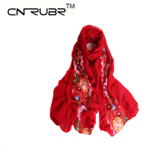 CN-RUBR Charm Scarf Vintage Warm Embroidered Flower Microfiber Scarves Wraps Shawl  Nepal National Style Cotton Blends Scarves