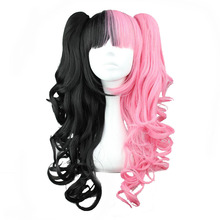 MCOSER 70cm/60cm Long Synthetic Wavy Pink and Black Two ponytails Mixed Color  Wig 100% High Temperature Fiber WIG-230A