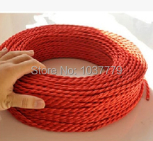 Free shipping to Russia 15meters braided fabric wire DIY lighting vintage edison lamps cloth coated PV 2 cores cable