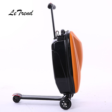 LeTtrend Micro Scooter Skateboard Rolling Luggage Fashion Trolley Business Cabin Suitcase Wheels Travel Duffle Men Carry On Bag