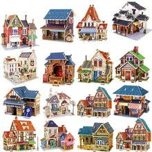 Musical Instruments Shop/Bar/Teahouse/Clothing Store Model Kits IQ for Children DIY Kids 3D Wooden Puzzles Educational Toys(China)