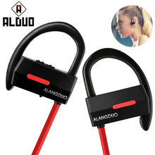 Original Alangduo Earphones Bluetooth 4.1 Sports Wireless Earphone Waterproof Stereo Super Bass Earhook headset earpiece(China)
