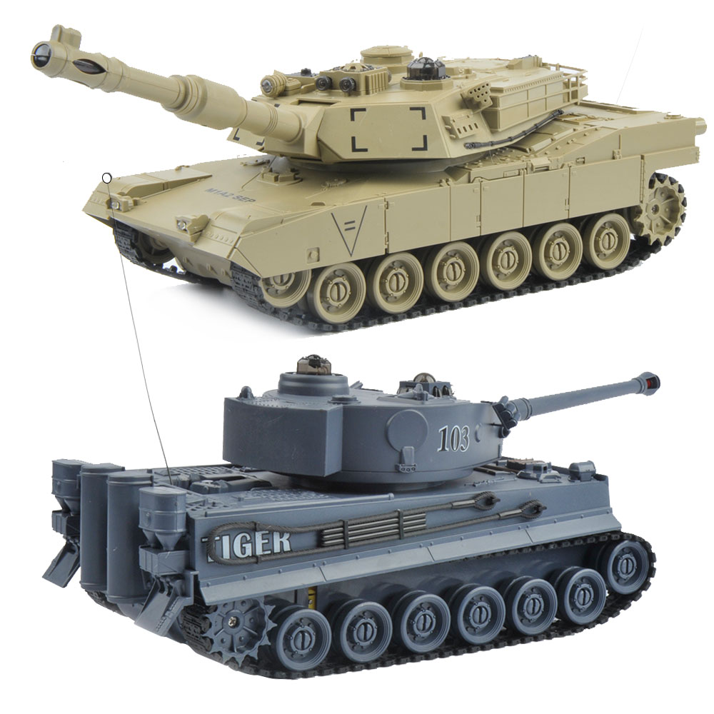 2 pcs/set 27Mhz 40Mhz RC Tank 9CH RTR GE Tiger 103 VS US M1A2 Remote Control Fighting Battle Tank with Musical and Flashing<br>