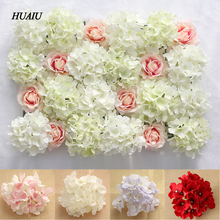 25pcs DIY artificial flower heads Hydrangea Peony Silk Wedding flowers Floral wall backdrop For hotel background decoration(China)
