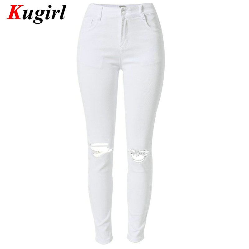 Hot Ladies white Ripped knee Hole jeans Cotton Denim Pants Stretch Womens Ripped Skinny High Waist Jeans Denim Jeans For FemaleОдежда и ак�е��уары<br><br><br>Aliexpress
